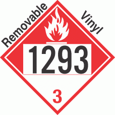 Combustible Class 3 UN1293 Removable Vinyl DOT Placard