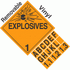 Explosive Class 1.1 1.2 1.3 NA or UN0225 Tabbed Removable Vinyl DOT Placard