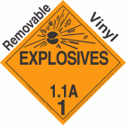 Explosive Class 1.1A NA or UN0224 Removable Vinyl DOT Placard