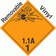 Explosive Class 1.1A NA or UN0224 International Wordless Removable Vinyl DOT Placard