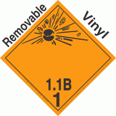 Explosive Class 1.1B NA or UN0029 International Wordless Removable Vinyl DOT Placard