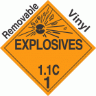Explosive Class 1.1C NA or UN0160 Removable Vinyl DOT Placard