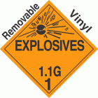 Explosive Class 1.1G NA or UN0121 Removable Vinyl DOT Placard