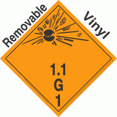 Explosive Class 1.1G NA or UN0094 International Wordless Removable Vinyl DOT Placard