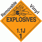 Explosive Class 1.1J NA or UN0399 Removable Vinyl DOT Placard