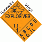 Explosive Class 1.1 NA or UN0225 Tabbed Removable Vinyl DOT Placard