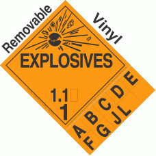 Explosive Class 1.1 NA or UN0042 Tabbed Removable Vinyl DOT Placard