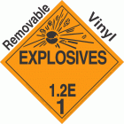 Explosive Class 1.2E NA or UN0182 Removable Vinyl DOT Placard