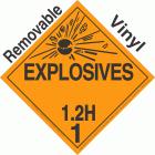 Explosive Class 1.2H NA or UN0243 Removable Vinyl DOT Placard
