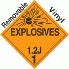 Explosive Class 1.2J NA or UN0398 Removable Vinyl DOT Placard