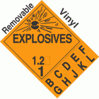 Explosive Class 1.2 NA or UN0182 Tabbed Removable Vinyl DOT Placard
