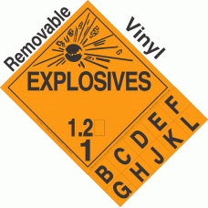 Explosive Class 1.2 NA or UN0204 Tabbed Removable Vinyl DOT Placard