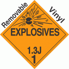 Explosive Class 1.3J NA or UN0247 Removable Vinyl DOT Placard