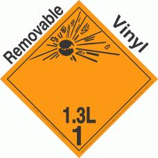 Explosive Class 1.3L NA or UN0250 International Wordless Removable Vinyl DOT Placard