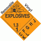 Explosive Class 1.3 NA or UN0250 Tabbed Removable Vinyl DOT Placard