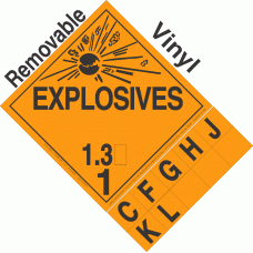 Explosive Class 1.3 NA or UN0356 Tabbed Removable Vinyl DOT Placard