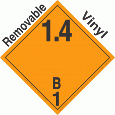 Explosive Class 1.4B NA or UN0365 International Wordless Removable Vinyl DOT Placard