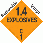 Explosive Class 1.4C NA or UN0379 Removable Vinyl DOT Placard
