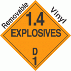 Explosive Class 1.4D NA or UN0104 Removable Vinyl DOT Placard