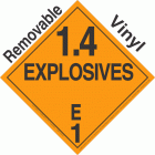 Explosive Class 1.4E NA or UN0412 Removable Vinyl DOT Placard