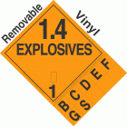 Explosive Class 1.4 NA or UN0012 Tabbed Removable Vinyl DOT Placard