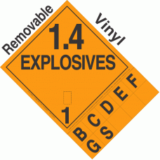 Explosive Class 1.4 NA or UN0361 Tabbed Removable Vinyl DOT Placard