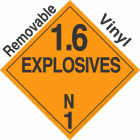 Explosive Class 1.6N NA or UN0486 Removable Vinyl DOT Placard