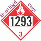 Combustible Class 3 UN1293 20mil Rigid Vinyl DOT Placard