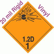 Explosive Class 1.2D NA or UN0169 International Wordless 20mil Rigid Vinyl DOT Placard