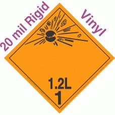 Explosive Class 1.2L NA or UN0355 International Wordless 20mil Rigid Vinyl DOT Placard