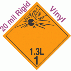 Explosive Class 1.3L NA or UN0250 International Wordless 20mil Rigid Vinyl DOT Placard