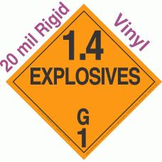Explosive Class 1.4G NA or UN0325 20mil Rigid Vinyl DOT Placard