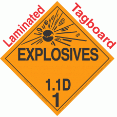 Explosive Class 1.1D NA or UN0489 Tagboard DOT Placard