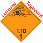 Explosive Class 1.1D NA or UN0084 International Wordless Tagboard DOT Placard