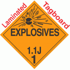 Explosive Class 1.1J NA or UN0354 Tagboard DOT Placard