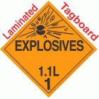 Explosive Class 1.1L NA or UN0357 Tagboard DOT Placard