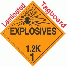 Explosive Class 1.2K NA or UN0020 Tagboard DOT Placard