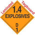 Explosive Class 1.4D NA or UN0352 Tagboard DOT Placard