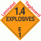Explosive Class 1.4E NA or UN0412 Tagboard DOT Placard