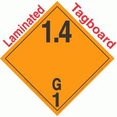 Explosive Class 1.4G NA or UN0325 International Wordless Tagboard DOT Placard