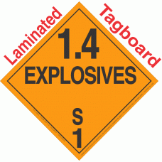 Explosive Class 1.4S NA or UN0368 Tagboard DOT Placard