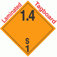 Explosive Class 1.4S NA or UN0373 International Wordless Tagboard DOT Placard