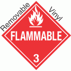 Standard Worded Flammable Class 3 Removable Vinyl Placard